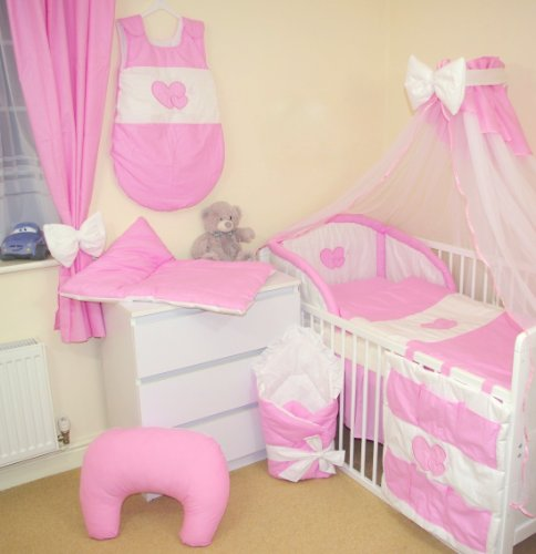 10 tlg baby bettw sche bettset mit stickerei 15 farben f rs babybett 120 60 cm 2 rosa. Black Bedroom Furniture Sets. Home Design Ideas