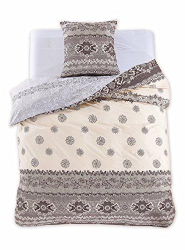 135x200 cm Bettwäsche mit 1 Kissenbezug 80x80 Renforcé Bettwäscheset Bettbezüge 100% Baumwolle Bettwäschegarnituren Reißverschluss Diamond Collection Anabelle creme ecru braun