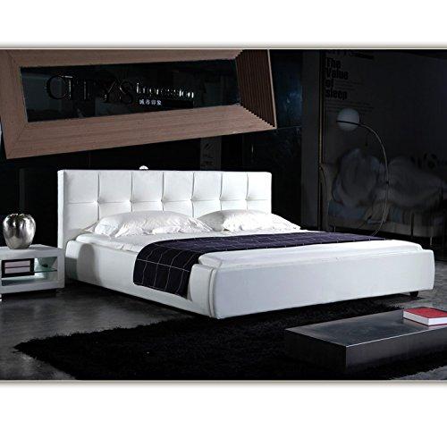 140cm x 200cm london weiss doppelbett polsterbett bettgestell bett lattenrost kunstlederbett. Black Bedroom Furniture Sets. Home Design Ideas
