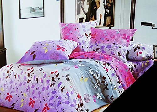 200 220 violett lila erika rosa mehrfarbig bettw sche bettbez ge bettw schegarnituren baumwolle. Black Bedroom Furniture Sets. Home Design Ideas