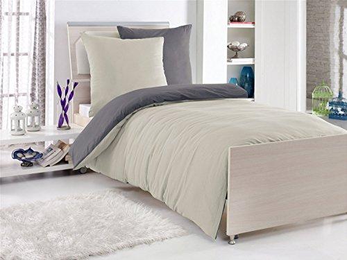 4-Teilige hochwertige Renforcé-Bettwäsche UNI-WENDE in anthrazit/stone 2x 135x200 Bettbezug + 2x 80x80 Kissenbezug , 100% Baumwolle