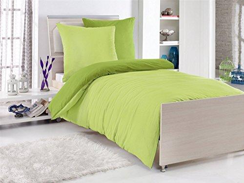 4-teilige **EXKLUSIV** Baumwolle Renforcé Bettwäsche 2x 135x200cm + 2x 80x80cm UNI Wende Einfarbig Grün Apfel-Grün Mai-Grün