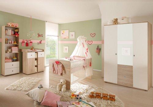 4 tlg babyzimmer komplett set wiki 2 in eiche sonoma wei babym bel komplettset mit grossem. Black Bedroom Furniture Sets. Home Design Ideas
