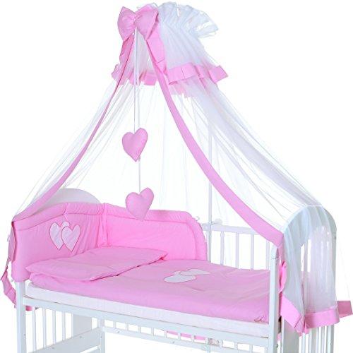 6 Teile Baby Bettwäsche Bettset 135x100 Kissen u. Bettdeckebezug mit Nestchen und XXL Himmel - Pink Herz