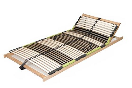 """7 Zonen Lattenrost aus Buche """"DaMi Relax KV"""" inkl. 6 fache Härteverstellung, mit Kopfverstellung, zerlegt 70 x 200 cm"""