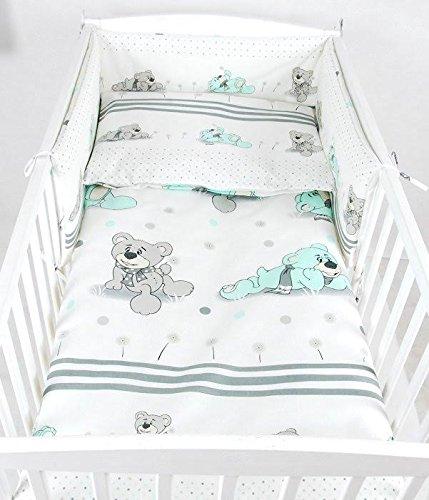 BABYLUX Bettwäsche Bezug 2 Tlg. 100 x 135 cm Kinderbettwäsche Bettwäsche Bettset Babybettwäsche (68. Bär Träumer Minze)
