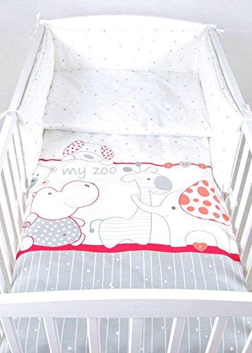 BABYLUX Bettwäsche Bezug 2 Tlg. 100 x 135 cm Kinderbettwäsche Bettwäsche Bettset Babybettwäsche MY ZOO (27. My Zoo Himbeere)