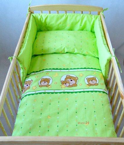 BABYLUX Kinderbettwäsche 2 Tlg. Bettwäsche Bettset Babybettwäsche 100 x 135 cm Bären (Fenster) (15. Grün Bär)