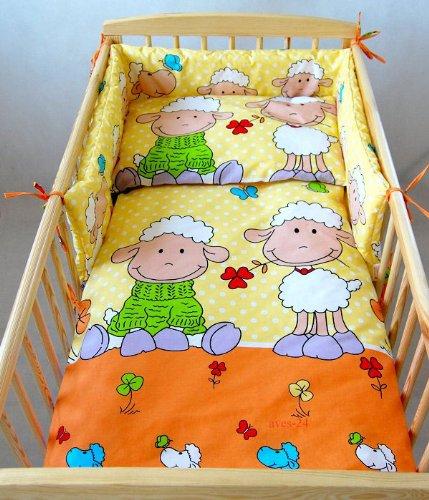 BABYLUX Kinderbettwäsche 2 Tlg. Bettwäsche Bettset Babybettwäsche 100 x 135 cm Schafe (4. Orange Schaf)
