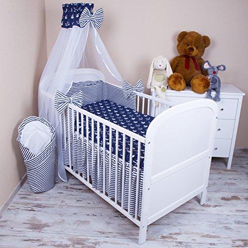 Amilian® Baby Bettwäsche 5tlg Bettset mit Nestchen Kinderbettwäsche Himmel 100x135cm Anker GROß Chiffonhimmel