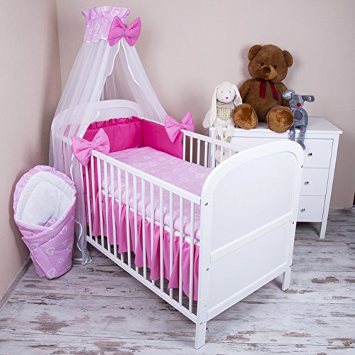 amilian baby bettw sche 5tlg bettset mit nestchen kinderbettw sche himmel 100x135cm herzen rosa. Black Bedroom Furniture Sets. Home Design Ideas