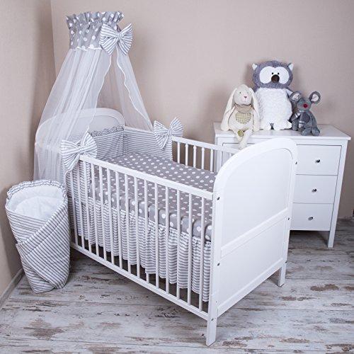 Amilian® Baby Bettwäsche 5tlg Bettset mit Nestchen Kinderbettwäsche Himmel 100x135cm NEU Pünktchen grau Chiffonhimmel