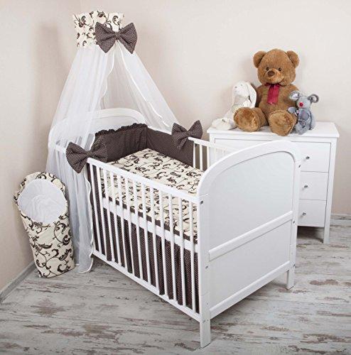 Amilian® Baby Bettwäsche 5tlg Bettset mit Nestchen Kinderbettwäsche Himmel 100x135cm Retro braun Chiffonhimmel