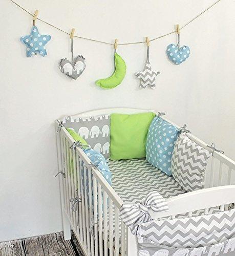 Amilian® Baby Bettwäsche Design21 Nestchen Bettset 100x135 für Babybett Decke Kissen Bettumrandung