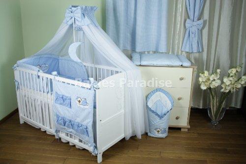 Baby Bettwäsche Set mit Applikation kariert (Bär Wolke) (5 tlg, Blau)