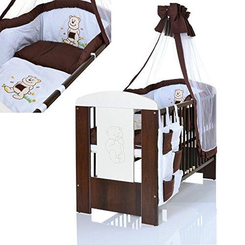 baby kinderbett b r 120x60 cm weiss braun mit 9 teiligen bettw sche komplettset und matratze. Black Bedroom Furniture Sets. Home Design Ideas