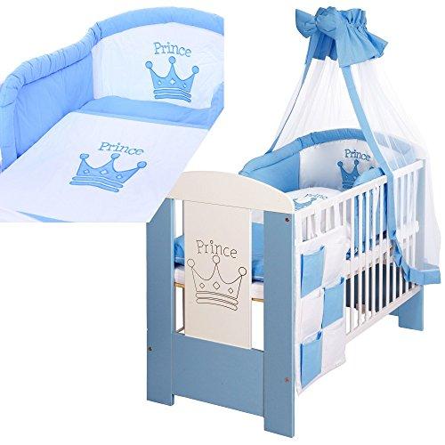 baby kinderbett 120x60 cm holz prinz wei blau matratze bettw sche set 9 teilig. Black Bedroom Furniture Sets. Home Design Ideas