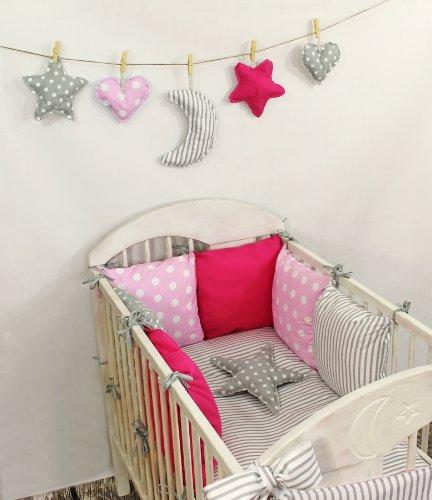 Amilian® Baby Nestchen Bettumrandung 210 cm Design2 Bettnestchen Kantenschutz Kopfschutz für Babybett Bettausstattung