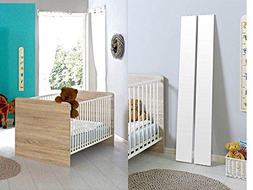 Babybett Kinderbett Juniorbett Komplettset ELISA in Eiche Sonoma / weiß mit höhenverstellbarem Lattenrost und Umbauseiten, komplett Set