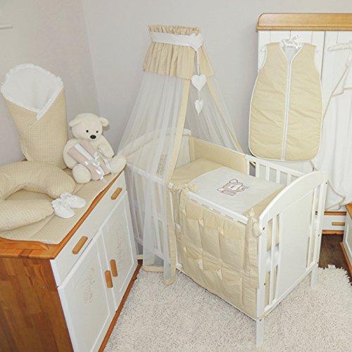 Babybettwäsche 7-tlg. Kinderbettwäsche Set 100x135cm Baby Bettset Himmel Nestchen mit Applikation BEIGE