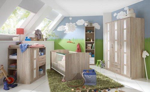 Babyzimmer 5-tlg. Eiche-Sägerau-Dekor, Schrank B: 135 cm, Kinderbett 70 x 140 cm, Wickelkommode B: 91 cm, Unterschrank, Hängeregal