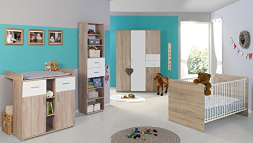 babyzimmer kinderzimmer komplett set elisa 4 in eiche sonoma wei komplettset mit grossem 3. Black Bedroom Furniture Sets. Home Design Ideas