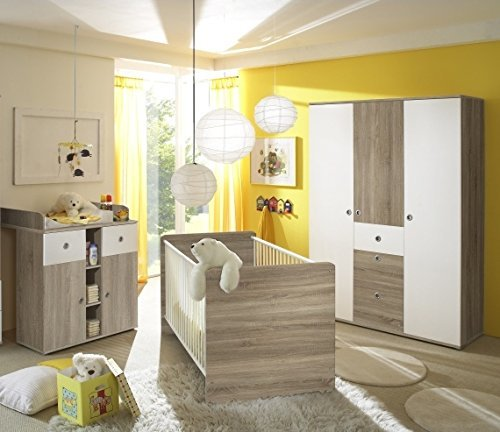 babyzimmer komplettset kinderzimmer komplett set wiki 6 in eiche sonoma wei. Black Bedroom Furniture Sets. Home Design Ideas