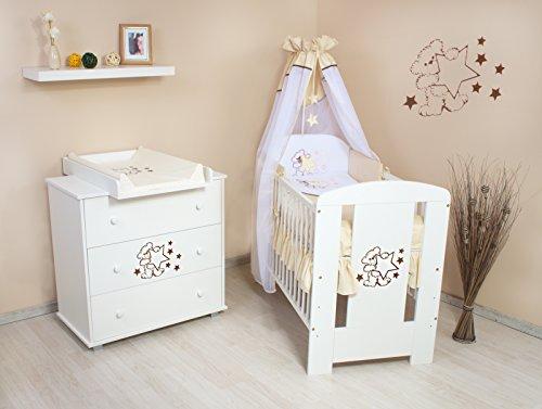 """Babyzimmer """"Teddybär"""" sparset incl. Babybett , Wickelkommode , Ausstattung - Komplettset (beige)"""