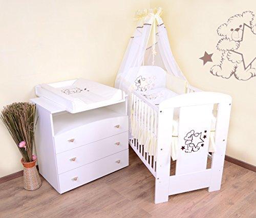 Babyzimmer (weiss) sparset incl. Babybett , Wickelkommode , Ausstattung - Komplettset (creme)