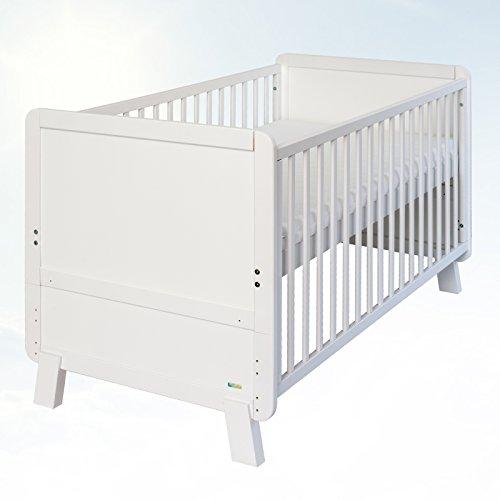 Belivin Baby Bett Serie Narvik umbaubar zum Juniorbett 140x70cm inkl. Matratze weiß