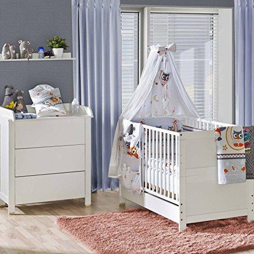 Belivin Kinderzimmer Milano Baby Bett Umbaubar Zum