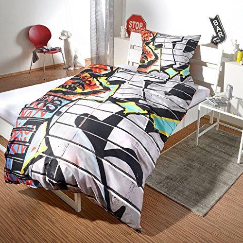 Hahn renforcé beddengoed graffiti, kleurrijk, 135 x 200 cm + 80 x 80 cm