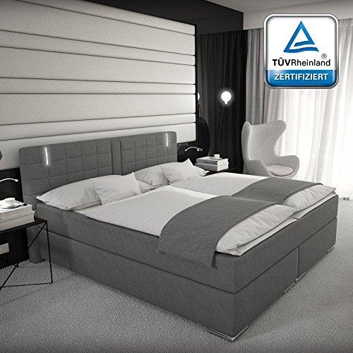 Boxspringbett 180x200 160x200 oder 140x200 Weiß Grau mit LED Kopflicht TÜV geprüft Matratze Hotelbett Polsterbett Ajna