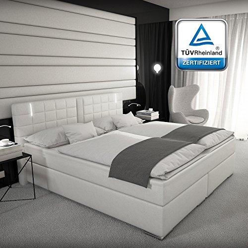 Boxspringbett 180x200 , 160x200 oder 140x200 Weiß Grau mit LED Kopflicht TÜV geprüft Matratze Hotelbett Polsterbett Ajna