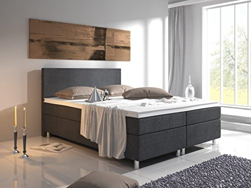 boxspringbett virginia 140 x 200 cm grau tonnentaschenfederkern matratze. Black Bedroom Furniture Sets. Home Design Ideas
