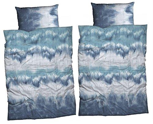 "CASATEX Bettwäsche ""Maiko"" aktueller Batikdruck, Renforcè, 4-tlg. Set, 2 Deckenbezüge + 2 Kissenbezüge, 135x200 cm + 80x80 cm, blau-grau"