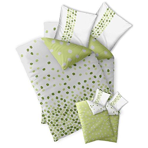 4-tlg. Bettwäsche Baumwolle 135x200 CelinaTex 0003963 Fashion Ilona weiß grün Punkte Wendedesign