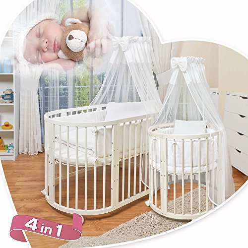 comfortbaby ovales kinderbett babybett 7 in 1 aus buche massivholz nutzbar als. Black Bedroom Furniture Sets. Home Design Ideas