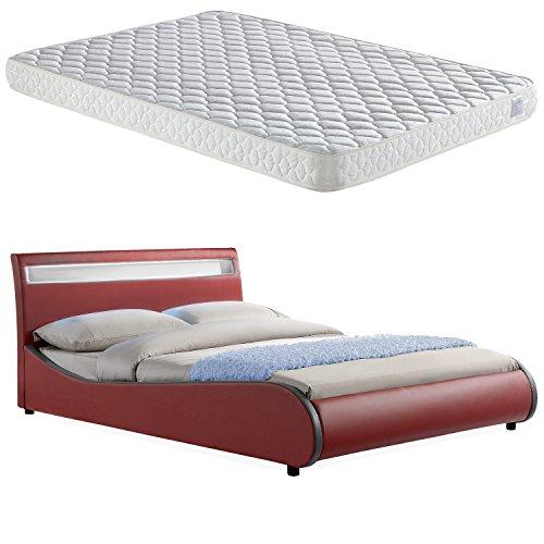 corium led polsterbett valencia mit matratze 180x200cm. Black Bedroom Furniture Sets. Home Design Ideas