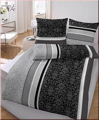 Bettwäsche Anthrazit Barock Blume 135x200 cm - Renforce