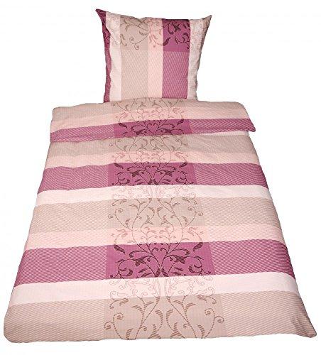 jack seersucker bettw sche 135x200cm ornamente ros flieder sand tonnentaschenfederkern. Black Bedroom Furniture Sets. Home Design Ideas