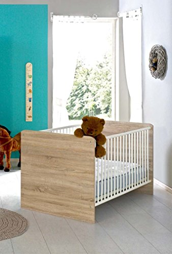 kinderbett babybett komplett set elisa inkl lattenrost 70 x 140 cm h henverstellbar in eiche. Black Bedroom Furniture Sets. Home Design Ideas