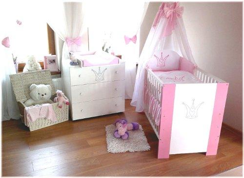 kinderbett baby krone rosa incl wickelkommode. Black Bedroom Furniture Sets. Home Design Ideas
