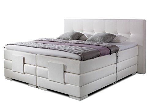 luxus boxspringbett in weiss elektrisch verstellbar nizza in 30 stoffe oder t leder 5 breiten 3. Black Bedroom Furniture Sets. Home Design Ideas