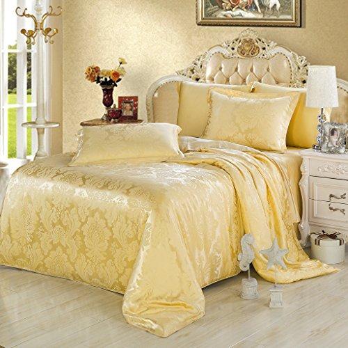 orifashion 2 teilige gold blumenmuster jacquard 100 seide bettw sche sets gr e 1x80 80 1x135. Black Bedroom Furniture Sets. Home Design Ideas
