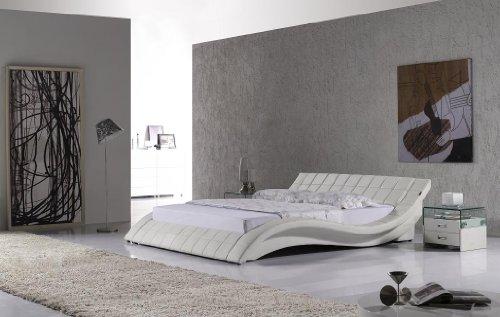 Polsterbett, Kunstlederbett R0W 140x200 cm Weiß aus hochwertigem Kunstleder