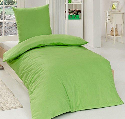 Renforcé 'EXKLUSIV' Baumwolle Bettwäsche 135 cm x 200 cm Uni Einfarbig , Farbe:GRÜN