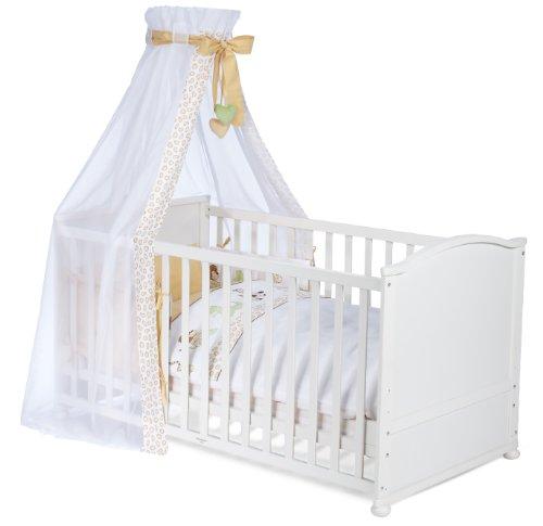 roba Komplettbett Set, Babybett weiß inkl, Bettwäsche, Himmel, Nest, Matratze, Kombi Kinderbett 70x140cm umbaubar zum Junior Bett