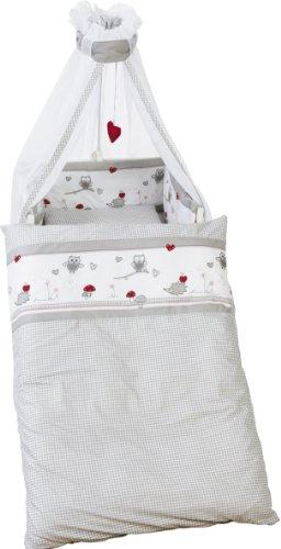 roba Kinder-Bettgarnitur 4-tlg 'Adam & Eule', Babybett-Ausstattung, Bettset 4-teilig: Bettwäsche 100x135 (Decke & Kissen), Nestchen, Himmel