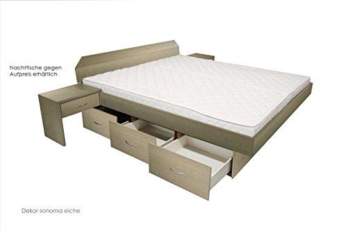 bellvita Mesamoll II Wasserbett mit Schubladensockel in Komforthöhe, Bettumrandung mit fachgerechtem Aufbau, 160 cm x 200 cm (eiche)